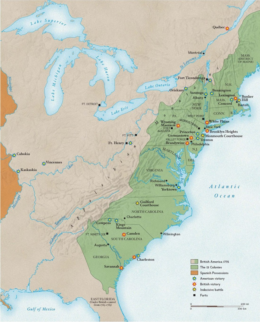 Revolutionary War Battles | National Geographic Society - Printable Map Of The 13 Colonies With Names