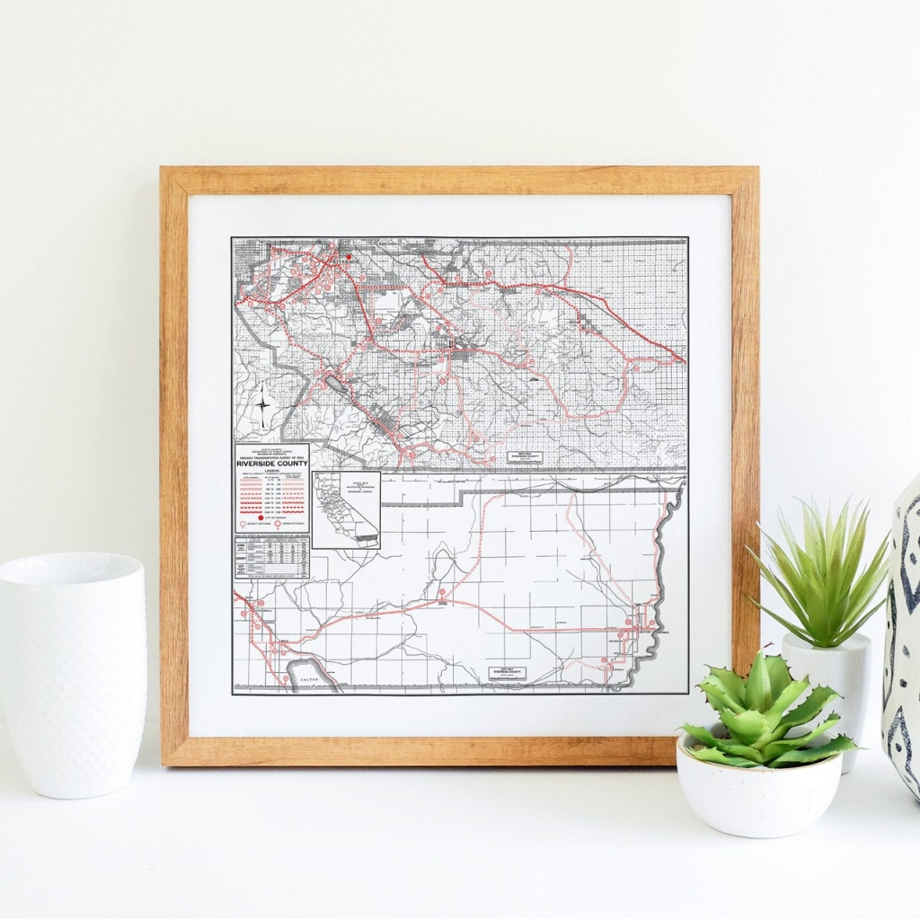 Riverside County California Map Riverside Art Riverside   Etsy - Printable Map Of Riverside County