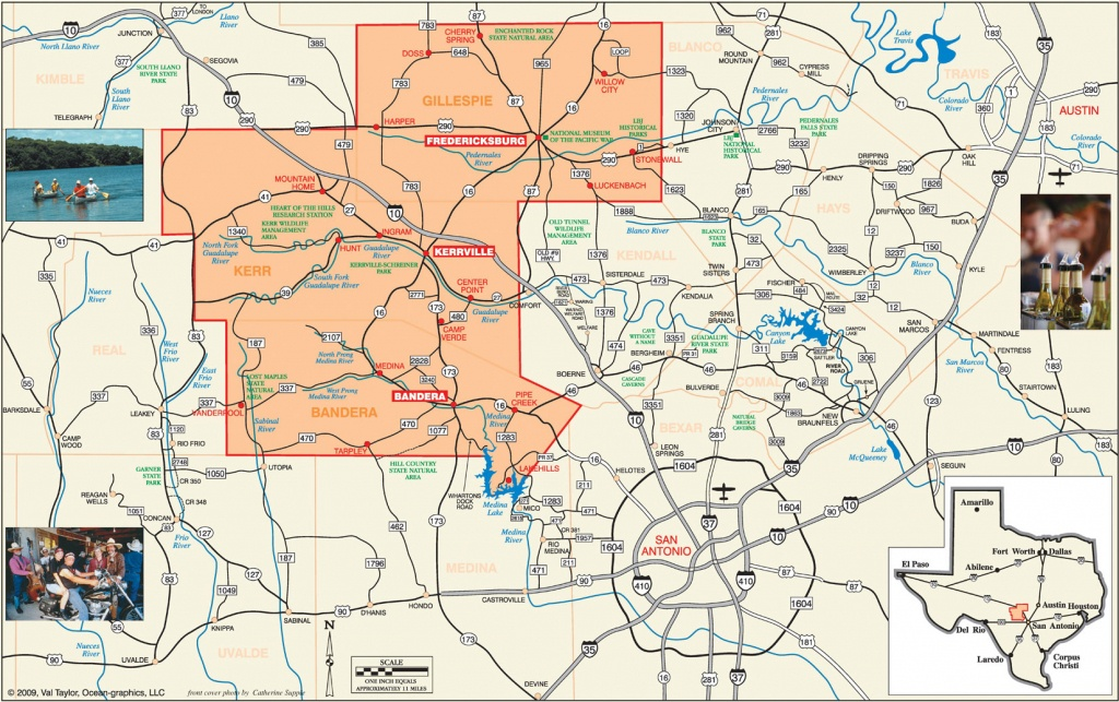 Road Map :: Convention & Visitors Bureaus Of Bandera, Fredericksburg - Texas Hill Country Map Pdf