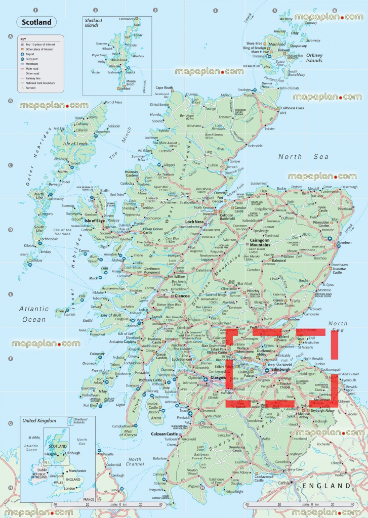 Road Map Of England And Scotland And Travel Information   Download - Detailed Map Of Scotland Printable