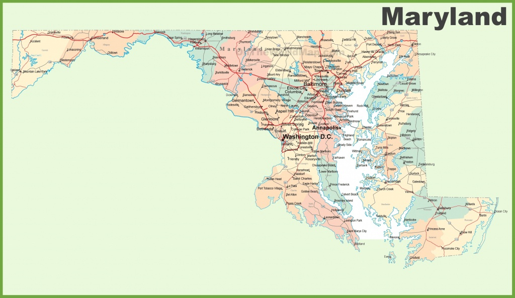Road Map Of Maryland With Cities - Printable Map Of Maryland