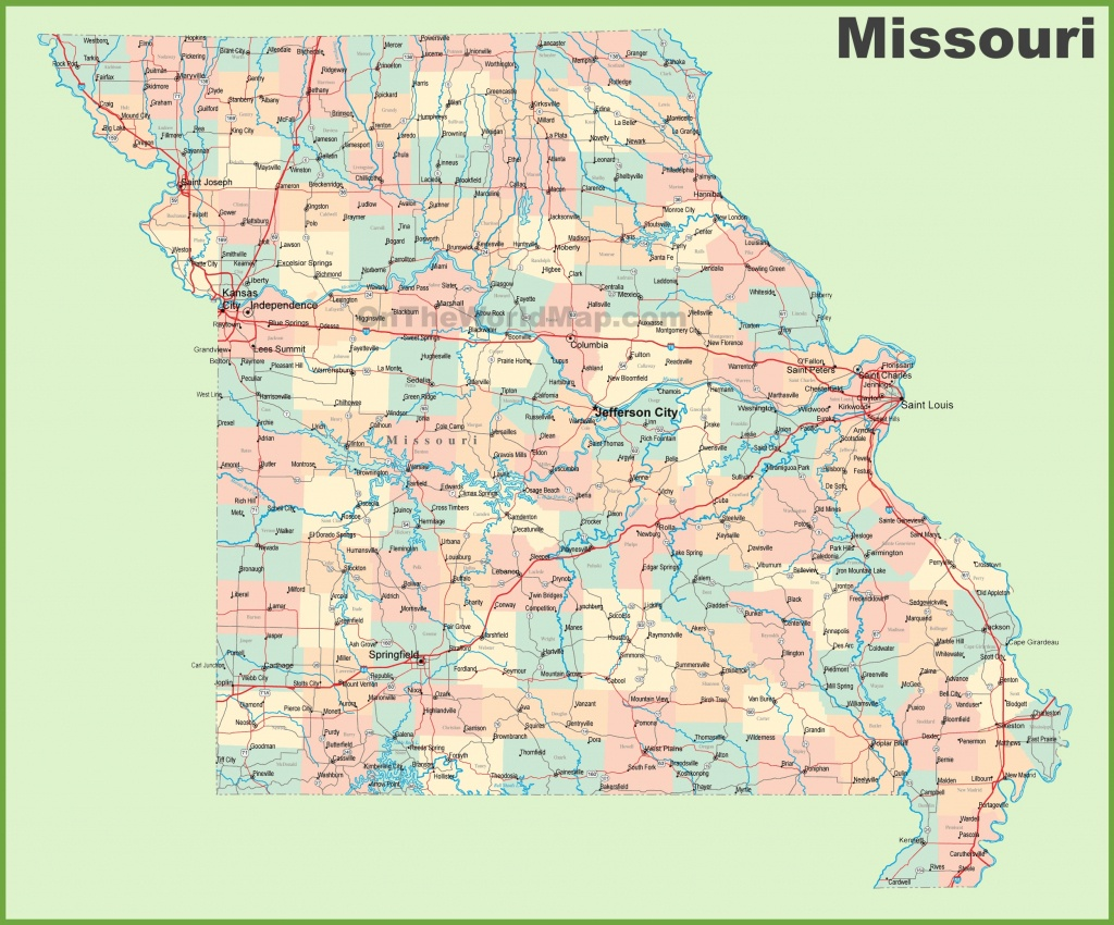 Road Map Of Missouri With Cities - Printable Map Of Missouri