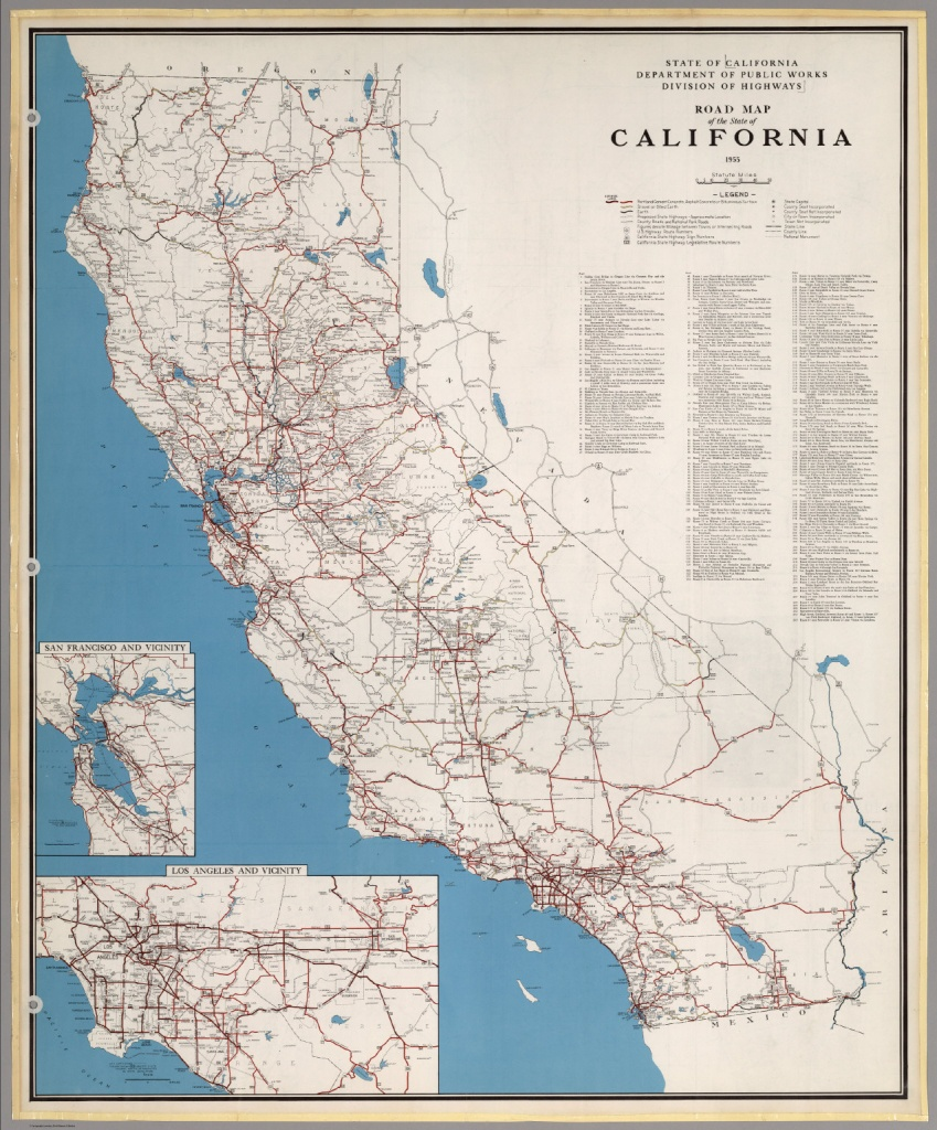 Road Map Of The State Of California, 1955. - David Rumsey Historical - California Road Atlas Map