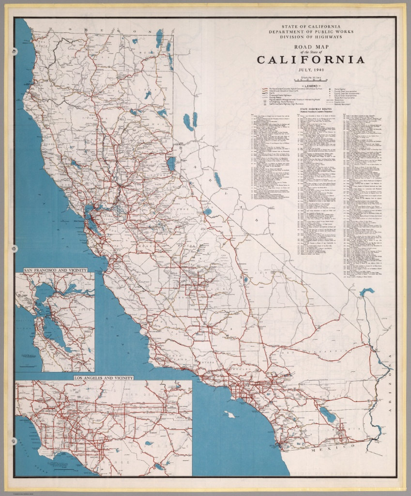 Road Map Of The State Of California, July, 1940. - David Rumsey - California State Road Map