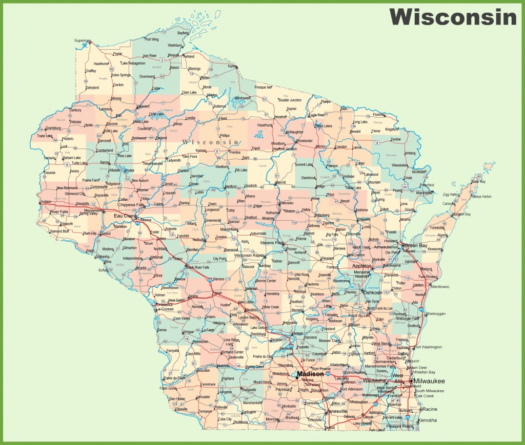 Road Map Of Wisconsin With Cities - Printable Map Of Wisconsin