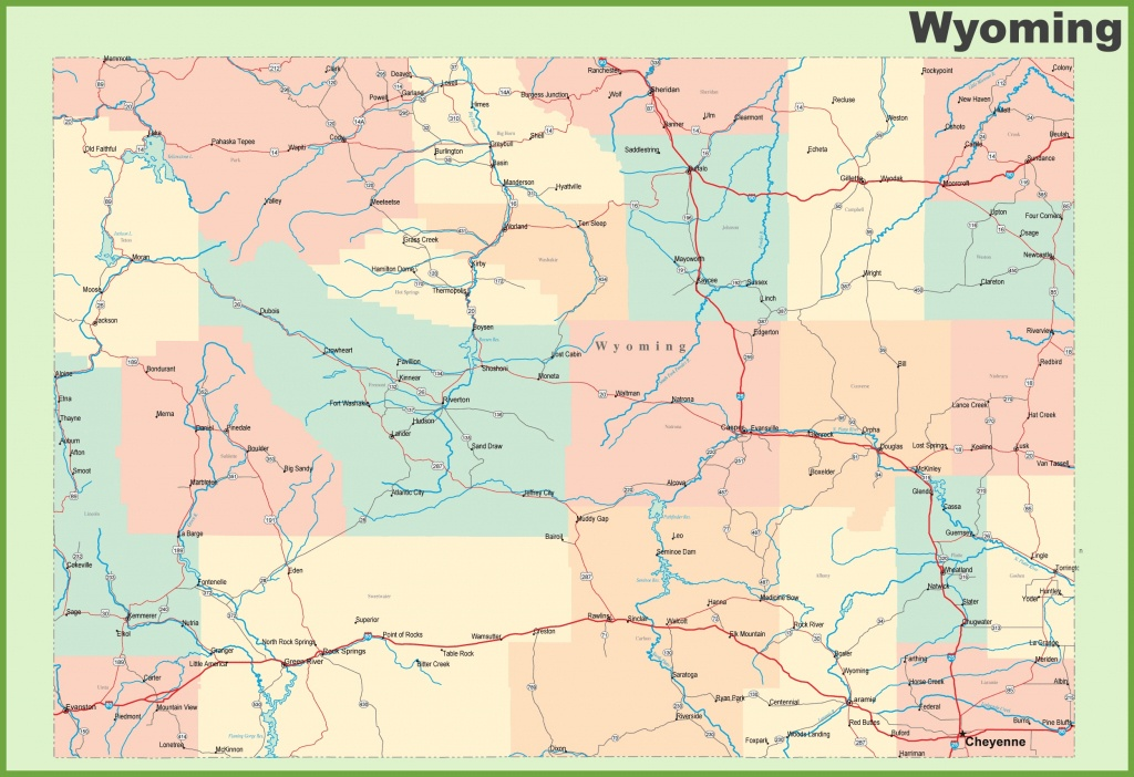 Road Map Of Wyoming With Cities - Wyoming State Map Printable