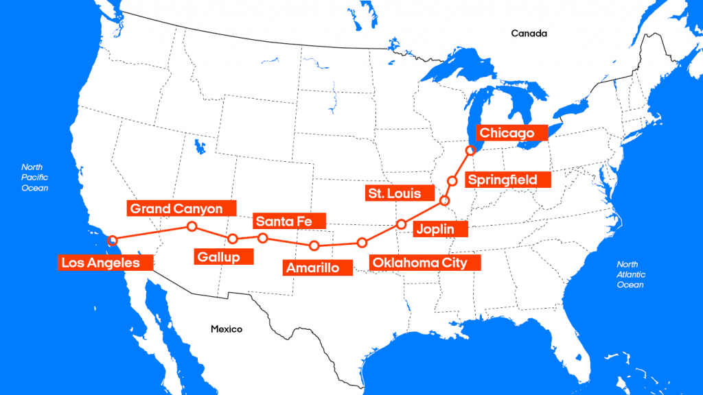 Road Trip In Usa | Road Trip Via Route 66 With Kilroy - Map Of Route 66 From Chicago To California