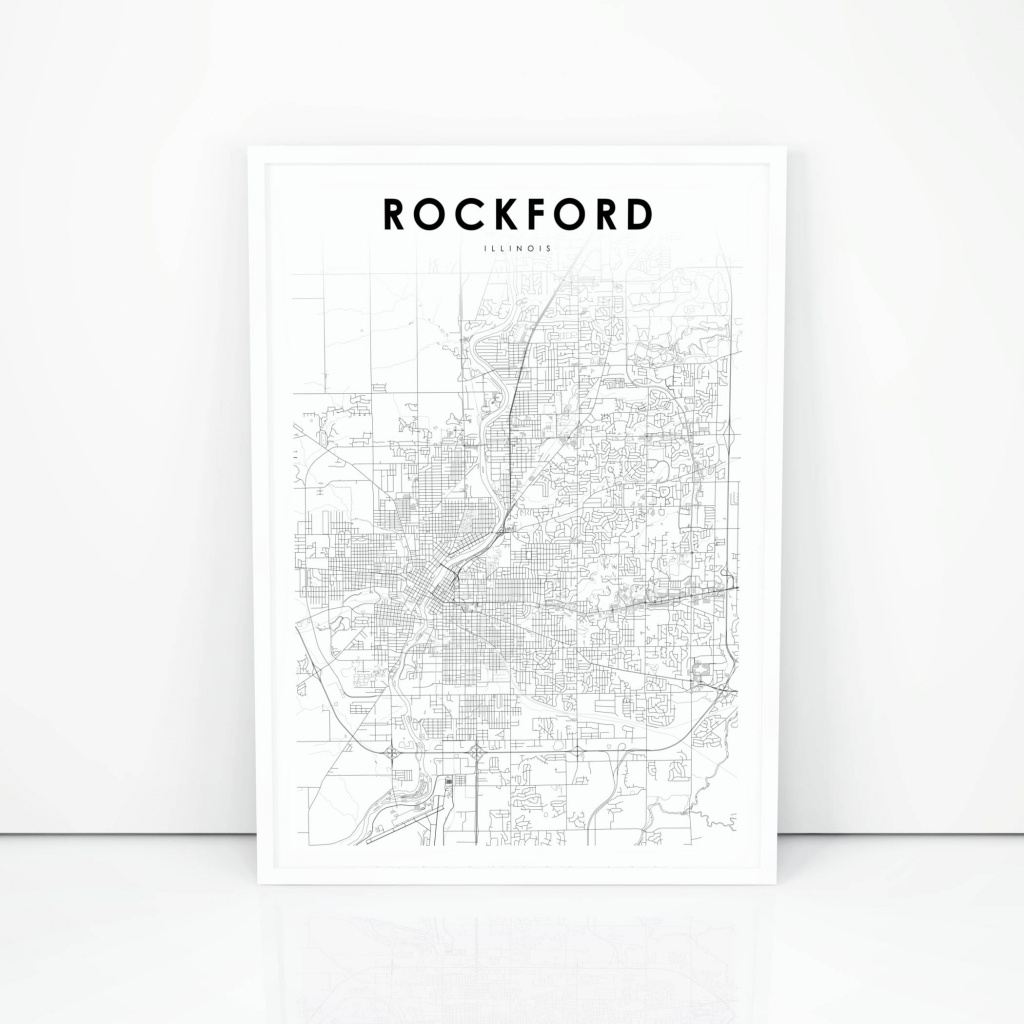 Rockford Map Print Illinois Il Usa Map Art Poster City | Etsy - Printable Map Of Rockford Il