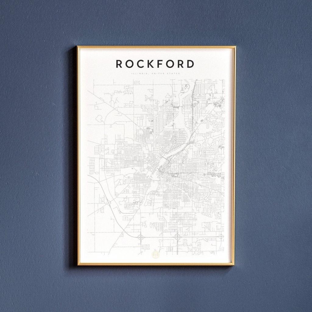 Rockford Map Print Map Wall Art Art Print Map Print   Etsy - Printable Map Of Rockford Il
