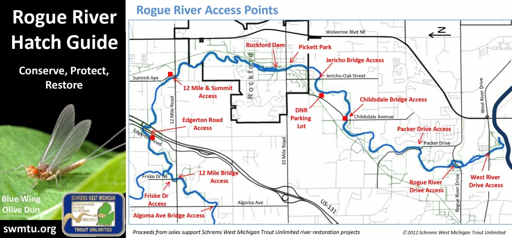 Rogue River - Schrems West Michigan Trout Unlimited - Michigan River Map Printable
