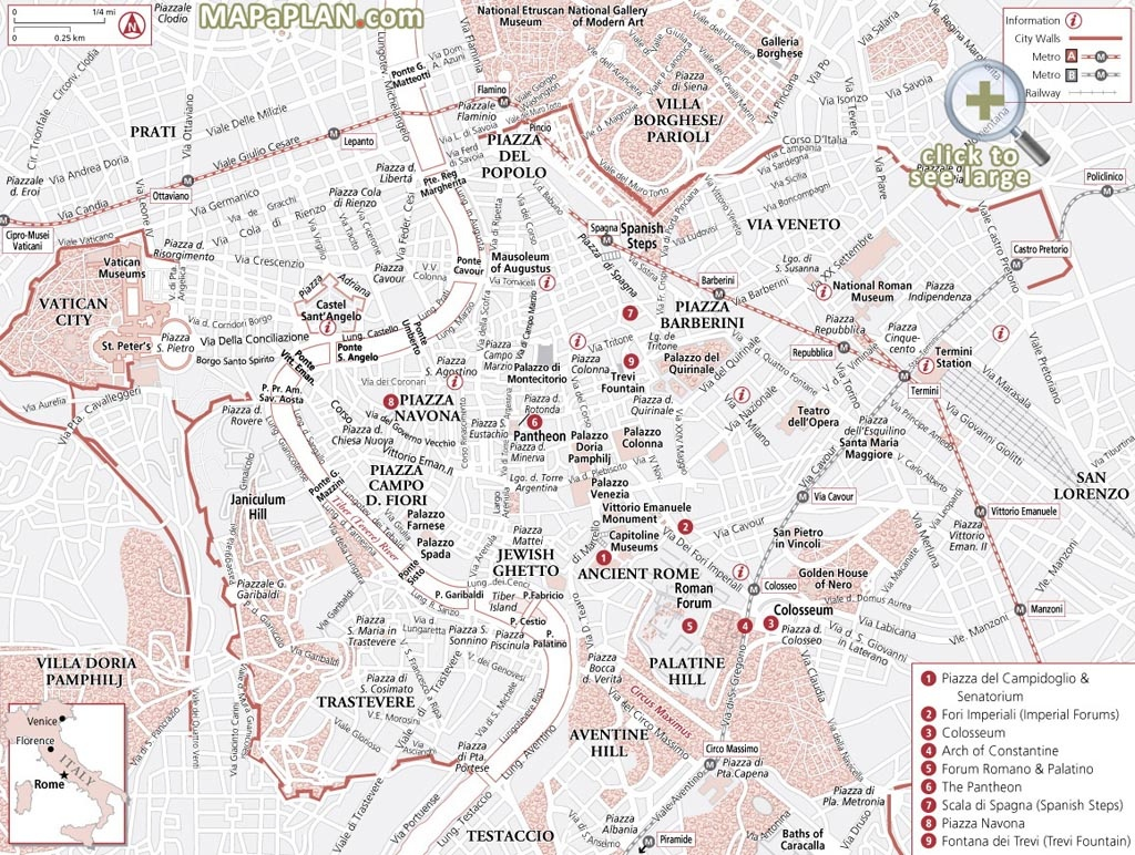 Rome Maps - Top Tourist Attractions - Free, Printable City Street Map - Printable Map Of Rome Tourist Attractions
