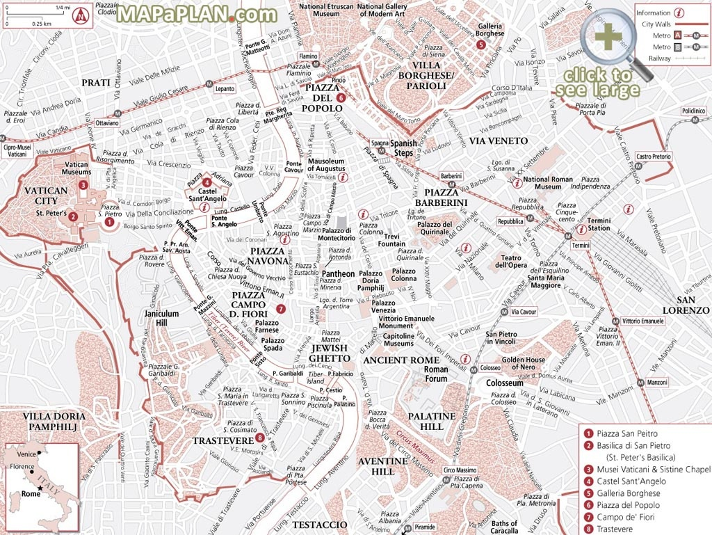 Rome Maps - Top Tourist Attractions - Free, Printable City Street Map - Street Map Rome City Centre Printable