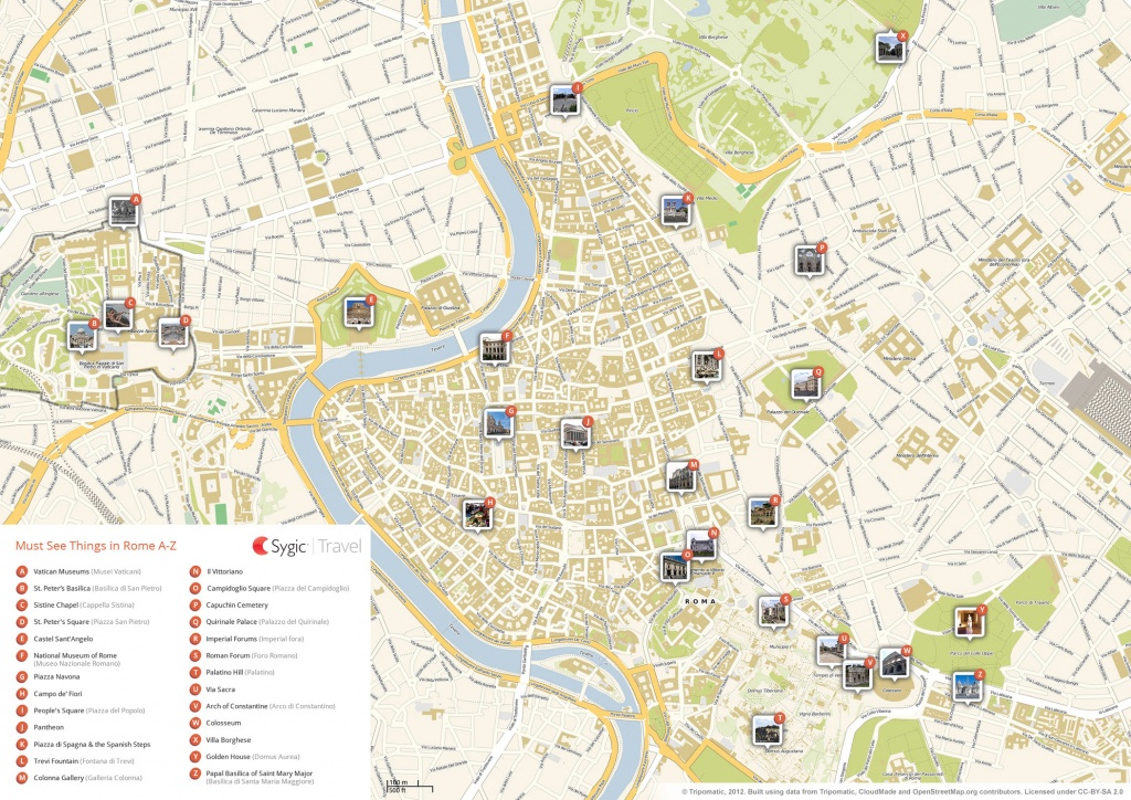 Rome Printable Tourist Map   Sygic Travel - Printable Map Of Rome Attractions