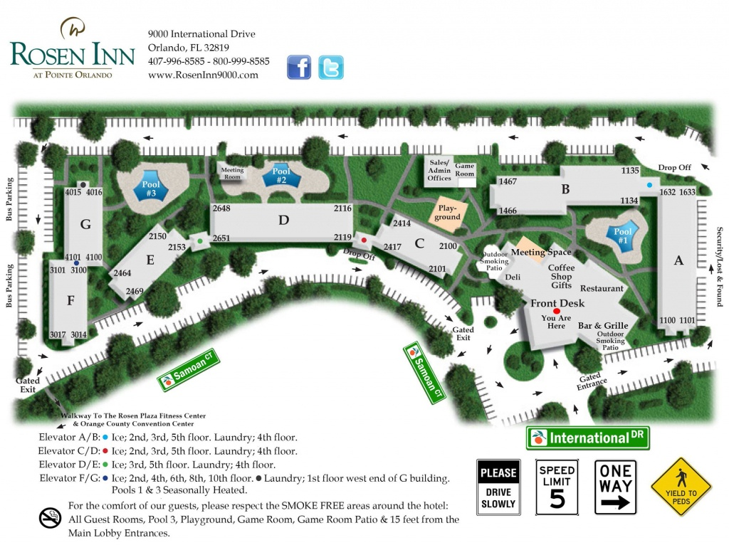 Rosen-Inn-Pointe-Orlando-Map-Web – Rosen Inn At Pointe Orlando - Map Of Hotels In Orlando Florida