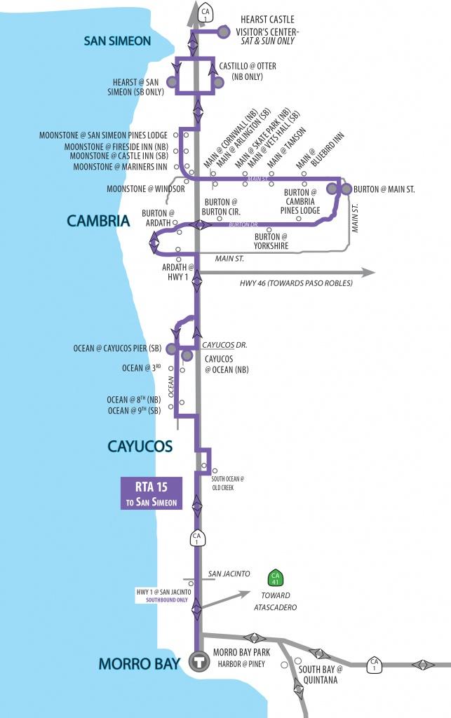 Route 15 Morro Bay, Cayucos, Cambria, San Simeon. New! Cayucos-Morro - Morro Bay California Map