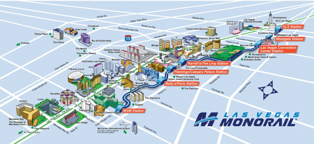 Route Map | Las Vegas Monorail - Map Of Las Vegas Strip Hotels Printable