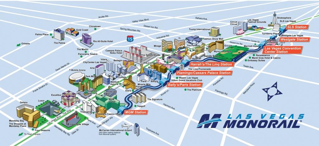 Route Map | Las Vegas Monorail - Printable Vegas Strip Map
