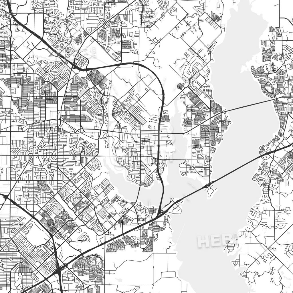 Rowlett, Texas - Area Map - Light | Hebstreits Sketches - Rowlett Texas Map