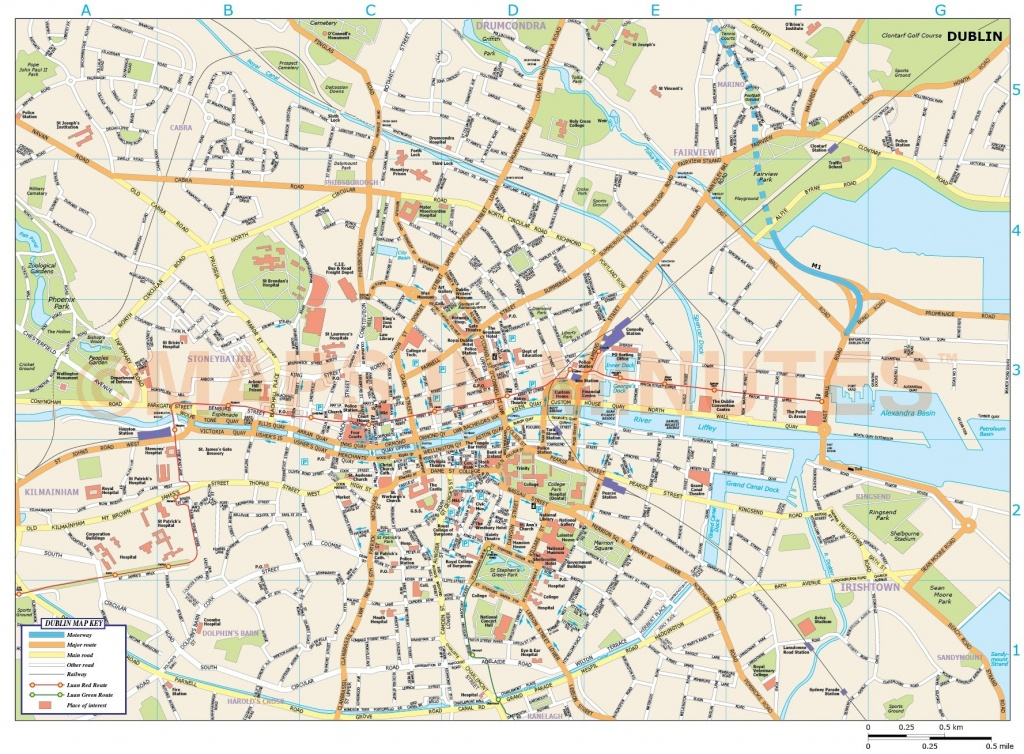 Royalty Free Dublin City Map In Illustrator And Pdf Vector Format - Dublin City Map Printable
