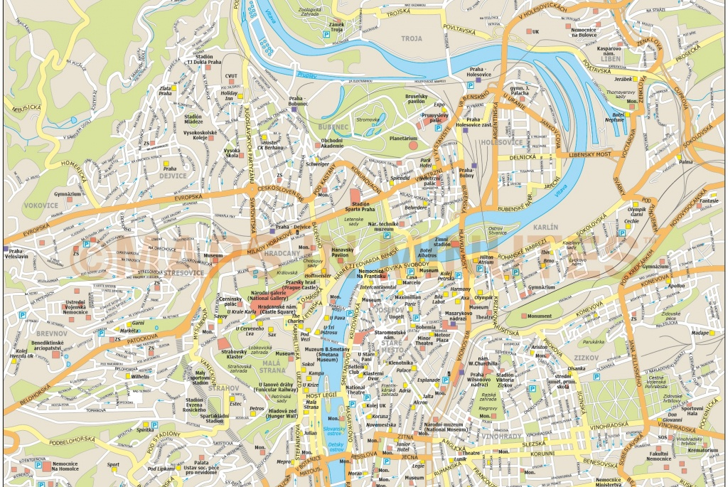Royalty Free Prague Illustrator Vector Format City Map - Prague City Map Printable