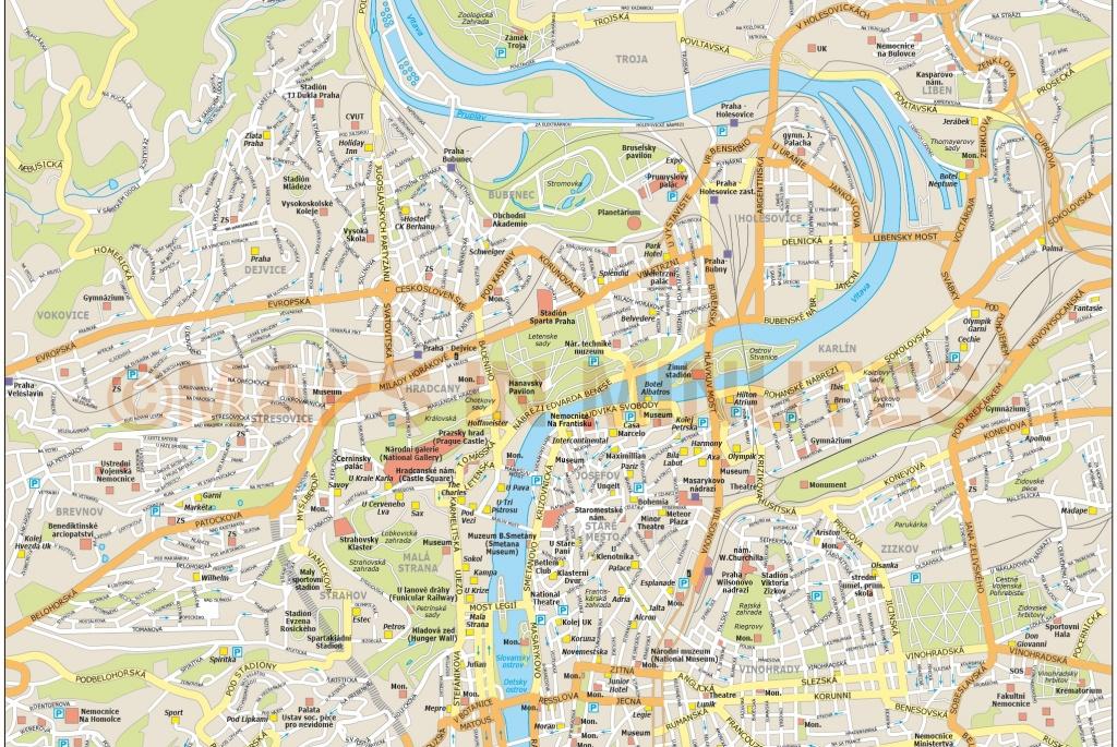Royalty Free Prague Illustrator Vector Format City Map - Printable Map Of Prague
