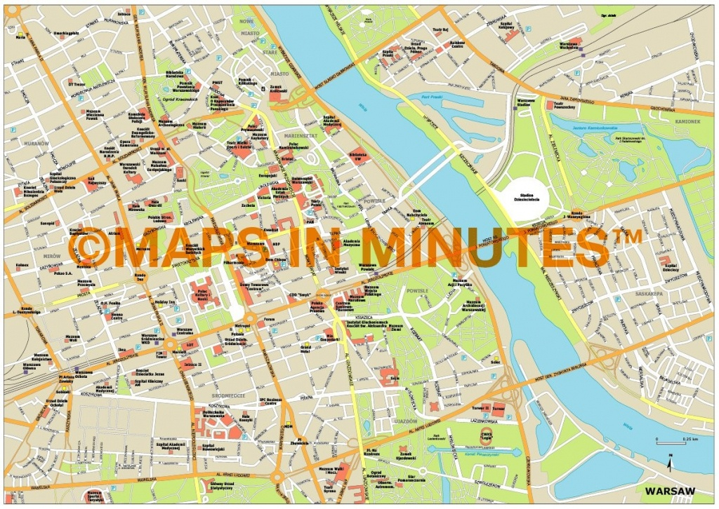 Royalty Free Warsaw Illustrator Vector Format City Map - Warsaw Tourist Map Printable