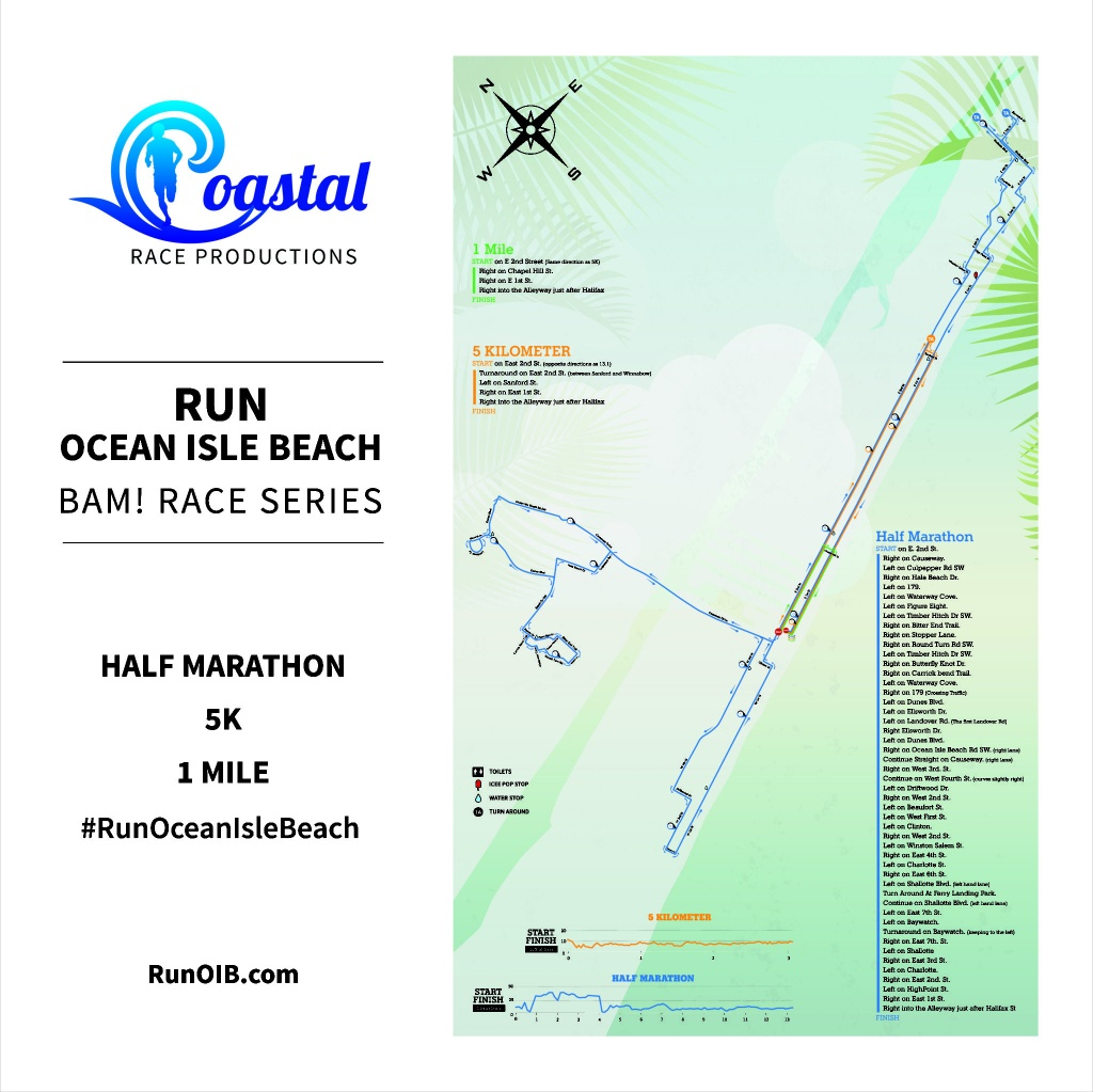 Run Ocean Isle Beach Course Details | Coastal Race Productions - Printable Map Of Ocean Isle Beach Nc