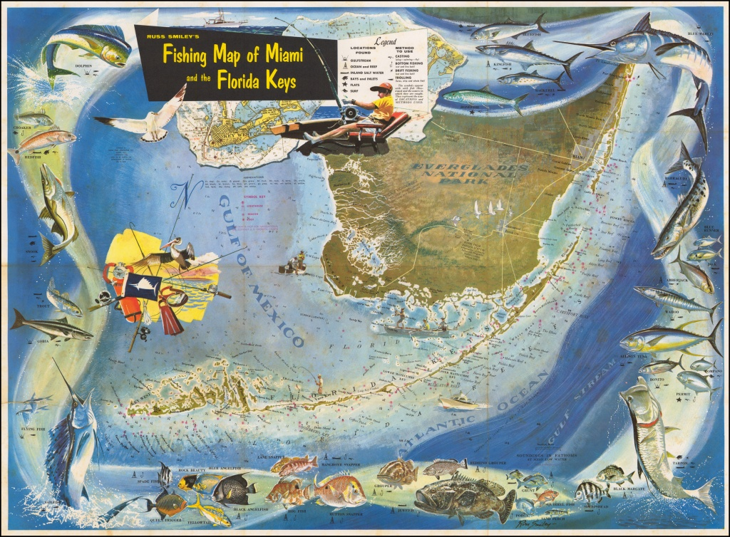 Russ Smiley's Fishing Map Of Miami And The Florida Keys - Barry - Florida Keys Fishing Map