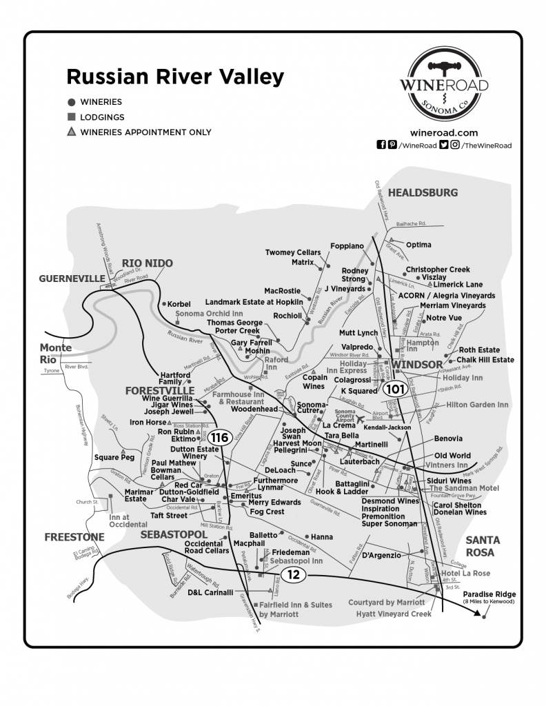 Russian River Valley - Wine Road - Russian River California Map