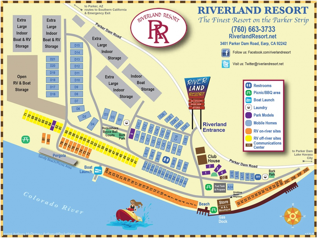 Rv And Bungalow Resort In Earp, Ca On Colorado River - Riverland Resort - Earp California Map
