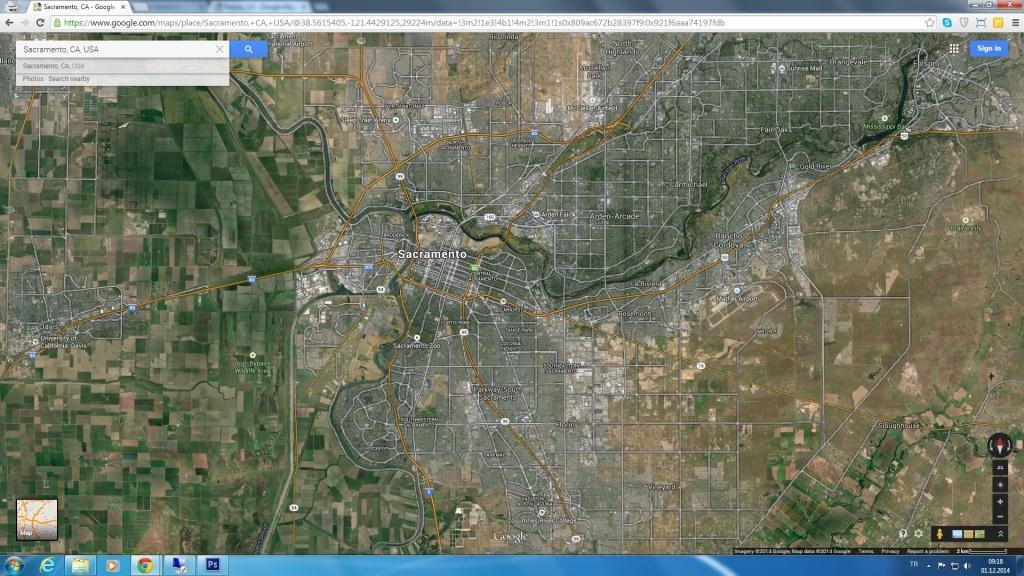 Sacramento California Map Throughout Google Map Satellite Los - Google Maps Sacramento California