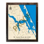 Saint Lucie River And Inlet, Fl Nautical Wood Maps   Hutchinson Florida Map