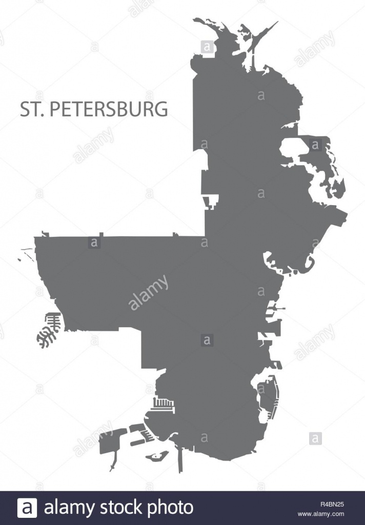 Saint Petersburg Florida City Map Gris Illustration Forme Silhouette - City Map Of St Petersburg Florida