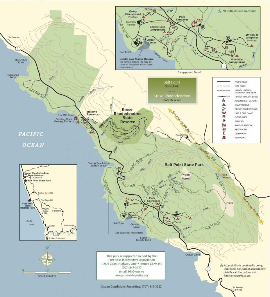 Salt Point State Park   Sonoma Hiking Trails - California State Campgrounds Map