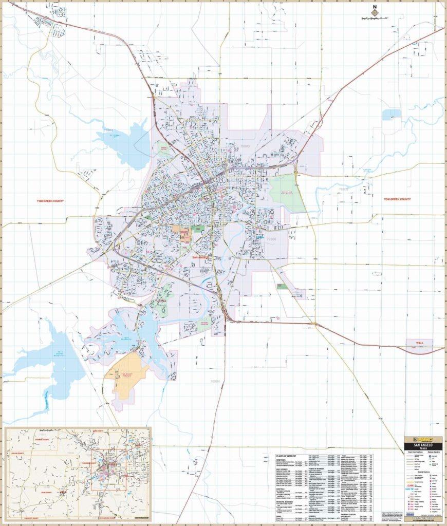 San Angelo, Tx Wall Map – Kappa Map Group - Street Map Of San Angelo Texas