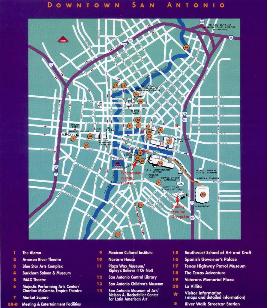 San Antonio Downtown Tourist Map - San Antonio Tx • Mappery - Map Of Downtown San Antonio Texas