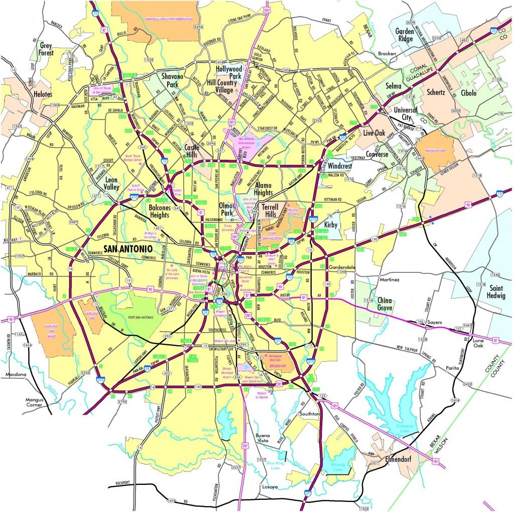 San Antonio Road Map - Printable Map Of San Antonio