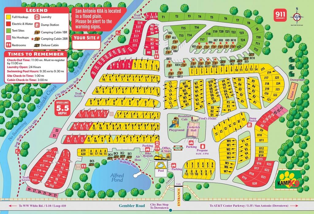 San Antonio, Texas Campground   San Antonio / Alamo Koa - South Texas Rv Parks Map