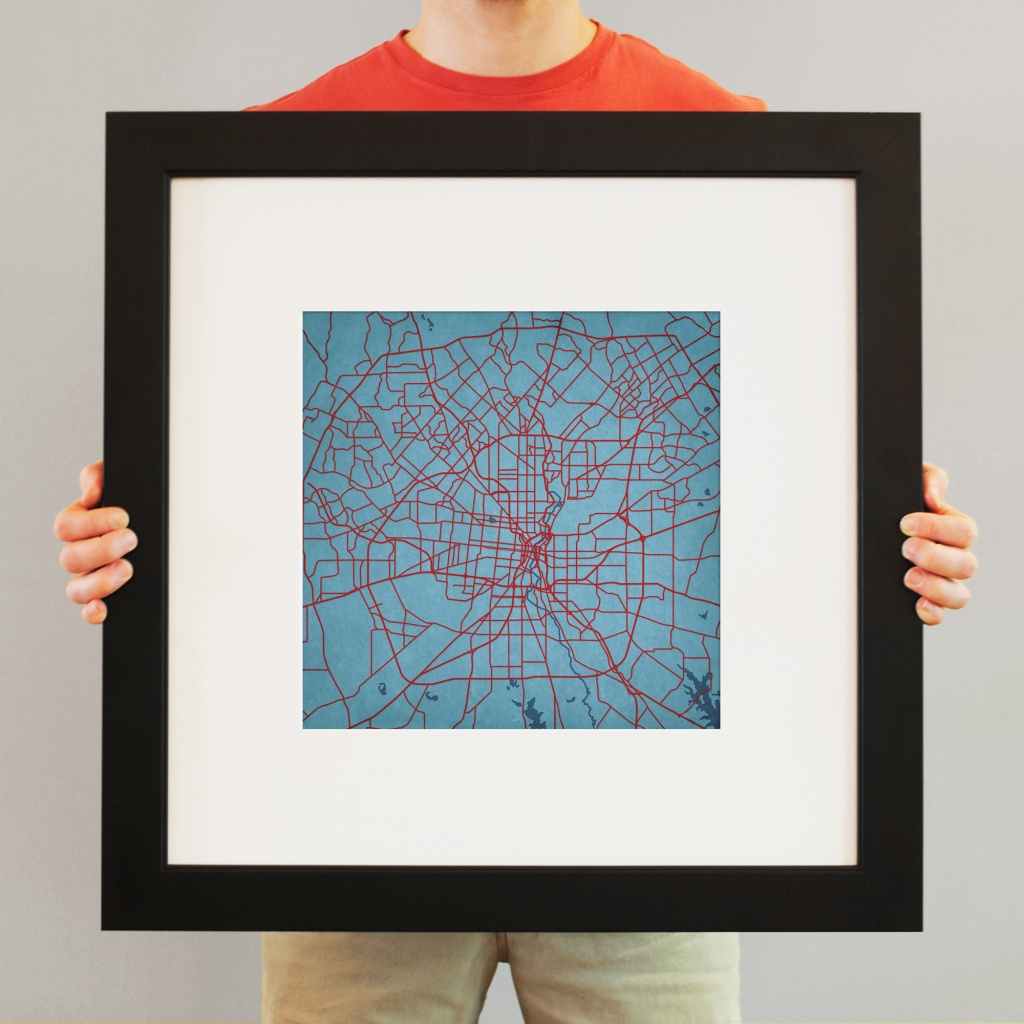 San Antonio, Texas Map Art - City Prints - Texas Map Framed Art