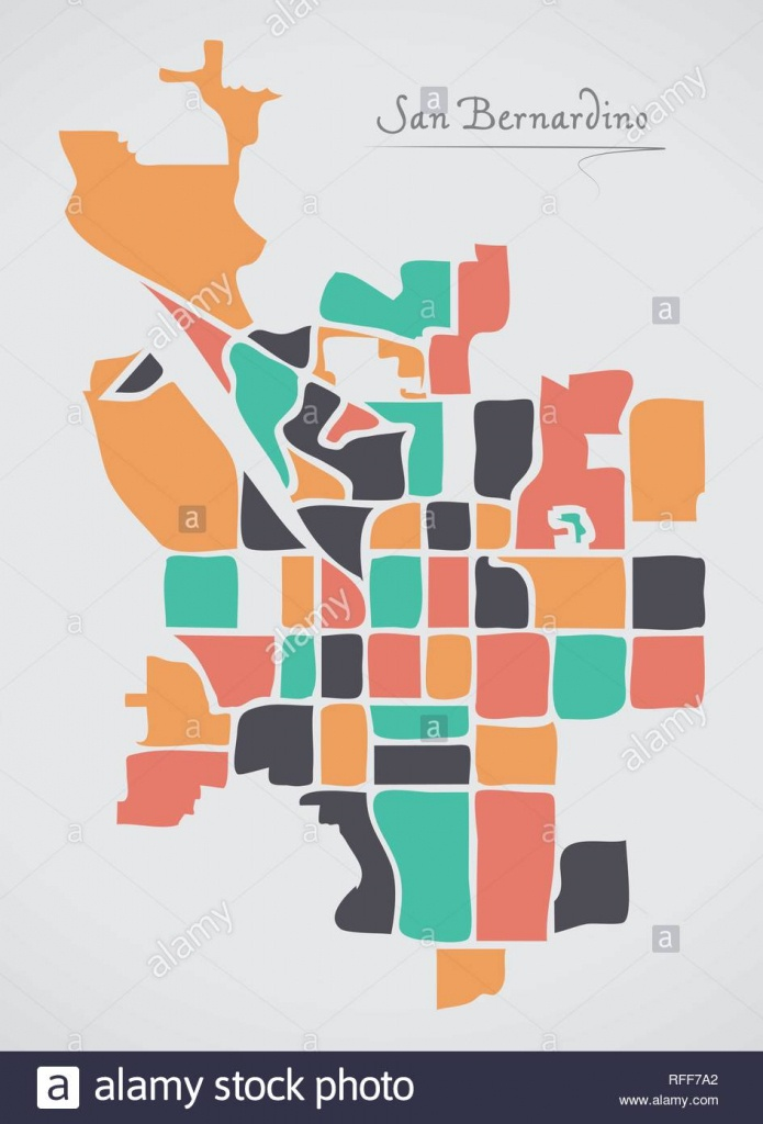 San Bernardino California Map With Neighborhoods And Modern Round - San Bernardino California Map