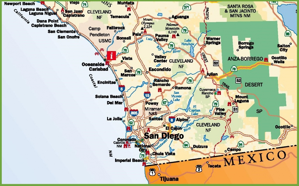 San Diego Area Road Map - Detailed Map Of San Diego California