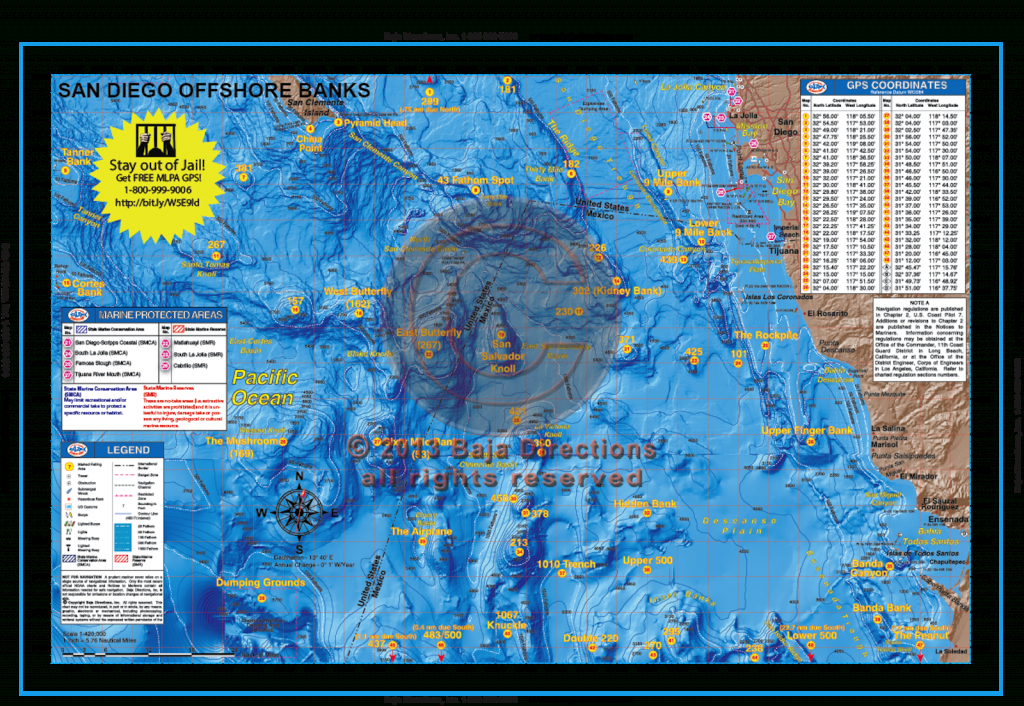 San Diego Offshore Banks - Baja Directions - Southern California Fishing Spots Map