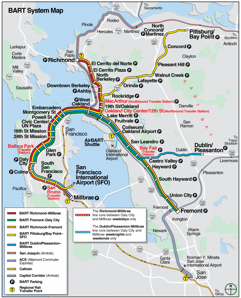 San Francisco Bart System Map (Railway) - Mapsof | San Fran - Printable Bart Map