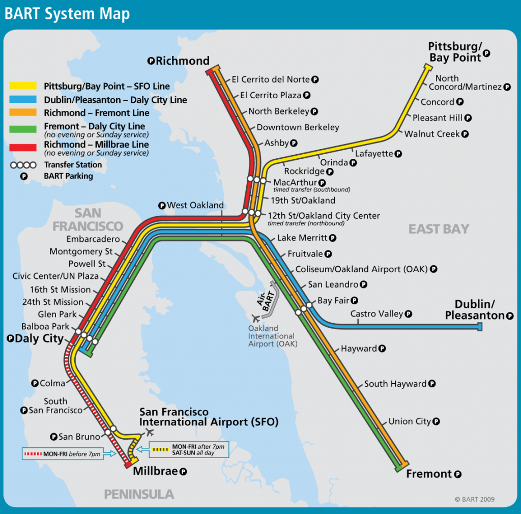 San Francisco Bay Area Metro Map (Bart) - Great Way To Get From The - Printable Bart Map
