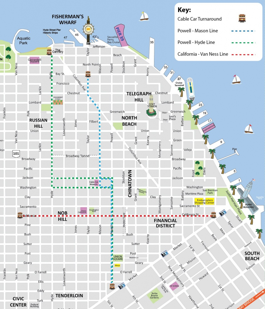 San Francisco Cable Car Map - Sf Trolley Map - City Sightseeing Tours - Printable Map San Francisco Cable Car Routes