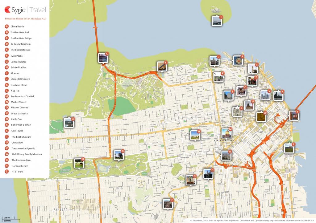 San Francisco Printable Tourist Map   Sygic Travel - San Francisco City Map Printable