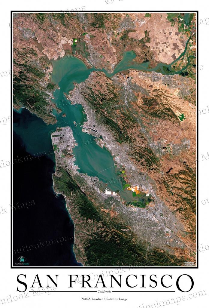 San Francisco Satellite Map Print | Aerial Image Poster - California Map Satellite