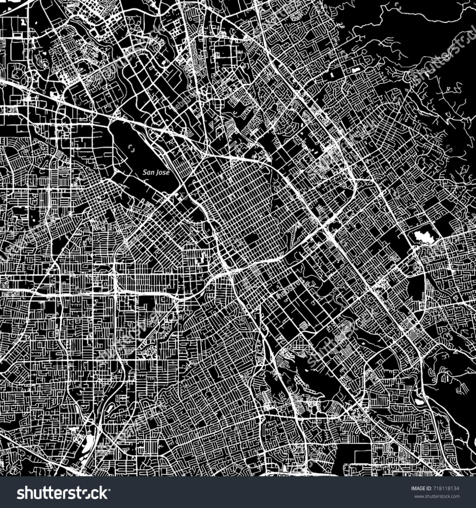 San Jose California Downtown Vector Map Image Vectorielle De Stock - Printable Map Of San Jose