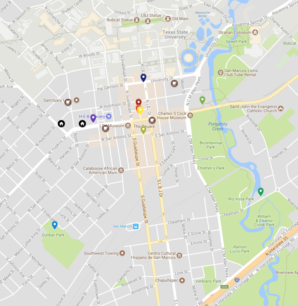 San Marcos Murals On Google Map   Texas Highways - Google Maps Texas