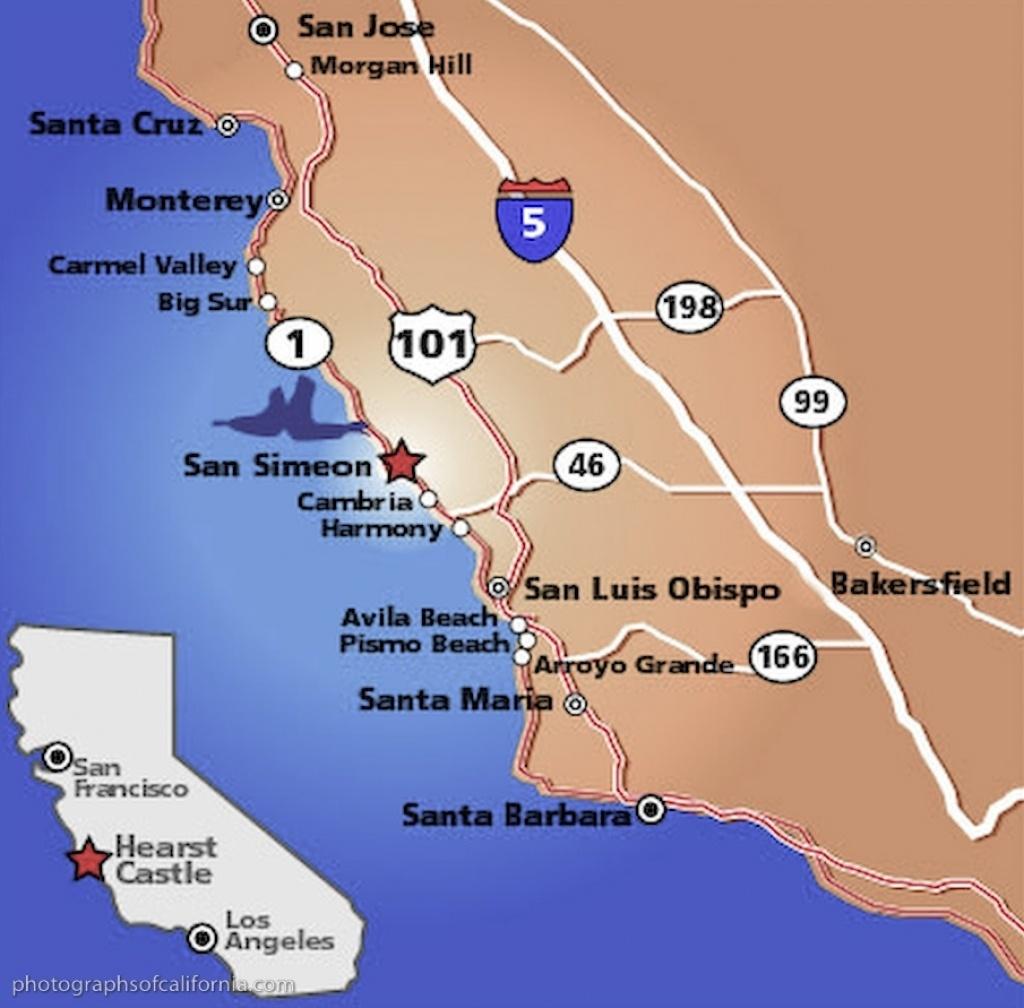 San Simeon Map California Map With Cities Hearst Castle California - Map Of California Showing Santa Barbara